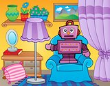 Room with retro robot