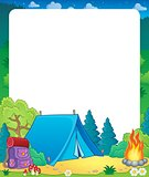 Summer frame with camp site theme