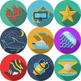 Flat color vector icons for sea leisure