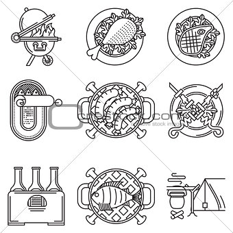 Black line vector icons for barbecue