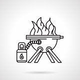 Barbecue equipment black line vector icon