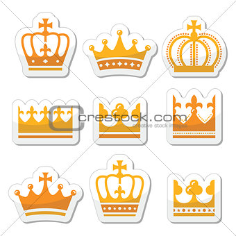 Crown, royal family gold icons set