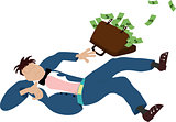 Falling business man with briefcase with full of money