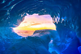 blue ice cave in Antarctica