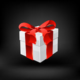 Gift box with ribbons. Vector