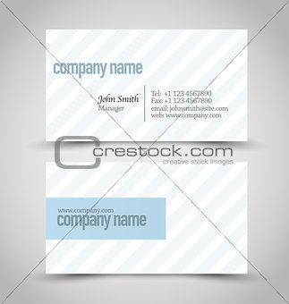 Business card set template. Blue and white color