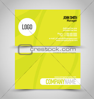 Business card set template. Bright green color