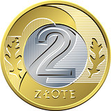 reverse Polish Money two zloty coin