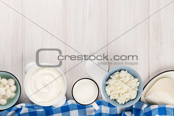 Dairy products. Sour cream, milk, cheese, yogurt and butter