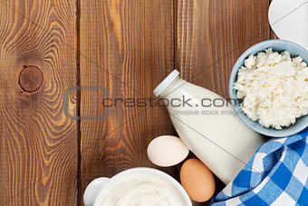 Dairy products. Sour cream, milk, cheese, egg, yogurt and butter