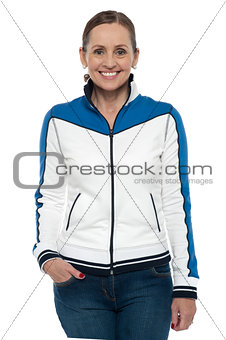 Casual portrait of a middle aged woman wearing jacket
