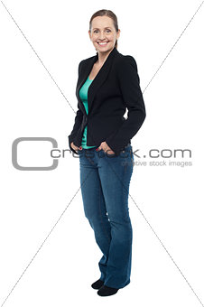 Attractive female posing sideways confidently