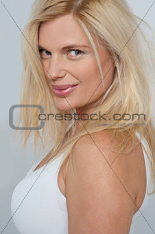 Tight close up of a stunning blonde fashion model