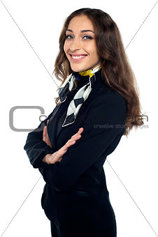 Beautiful stewardess smiling