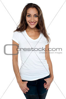 Attractive female dressed in casuals