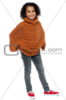 Afro american girl in over sized pullover