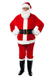 Cheerful Santa Claus posing with hands on waist