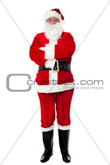 Confident old man in Santa costume