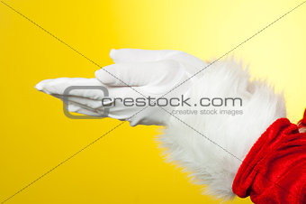 Close up of open palms of Santa Claus