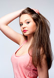 Beautiful Teenage Girl with Long Brown Hair