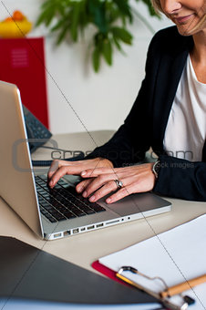 Cropped image of female manager working on laptop