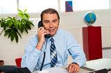 Smiling businessman attending work call