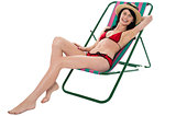 Sexy bikini model enjoying summer day