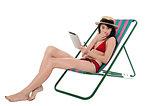 Amazed bikini lady holding tablet