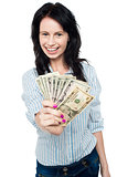 Young woman with dollars in her hands