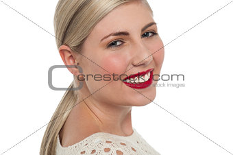 Charming teen model flashing toothy smile