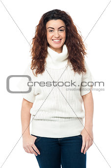 Portrait of charming girl in high neck sweater