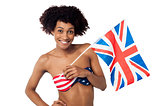 United Kingdom supporter in American flag bikini
