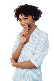 Shy customer support executive looking away