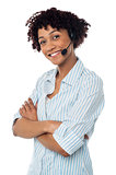 Confident smiling female telecaller