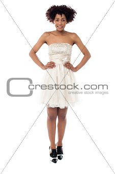 Beautiful young black woman in party wear