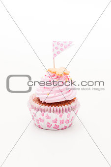 one beautiful pink and violet cupcake