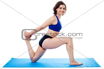 Fit woman doing bent knees exercise