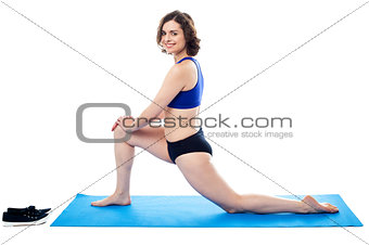 Active female doing thigh excercise