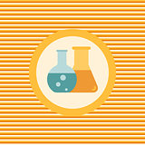 Flasks with scientific experiments color flat icon icon
