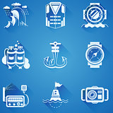 Marine elements white vector icons