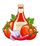 Bottle with ketchup and organic ingredients vegetables