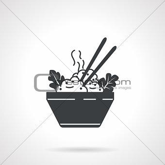 Rice bowl black vector icon