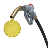 Gold dollar coin flowing from fuel nozzle