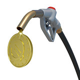 Gold euro coin flowing from fuel nozzle