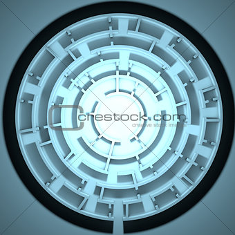 Top view of round maze