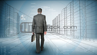 Back view of business man holding briefcase and walking forward on road
