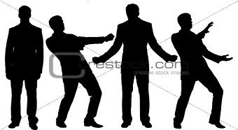 Black silhouettes of businessman standing in different posture