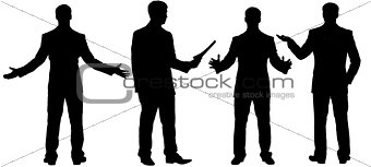 Black silhouettes of businessman standing in different postures