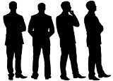 Silhouettes of thinking businessman in different postures