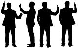 Set of exclaiming businessmen with pionter finger up